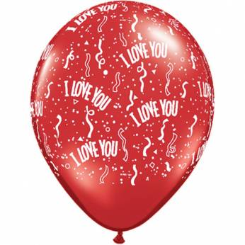 100 stuks 5 inch (13 cm) Ruby Red I Love You Qualatex Ballonnen