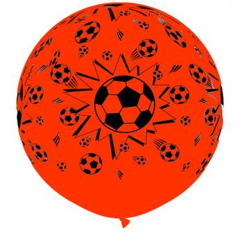 1 X 3FT (90 cm) SOCCER BALL ROUND ORANGE Qualatex ballonnen
