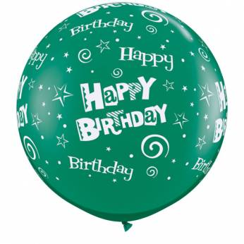 1 x 3ft (90 cm) Emerald Green Birthday Stars & Swirls Qualatex Ballon