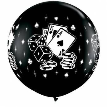 1 X 3FT (90 cm) CASINO DICE & CARDS BLACK Qualatex ballonnen