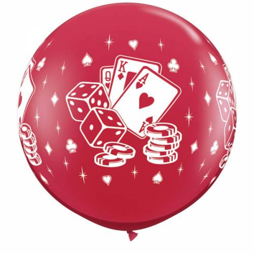 1 X 3FT (90 cm) CASINO DICE & CARDS RUBY RED Qualatex ballonnen