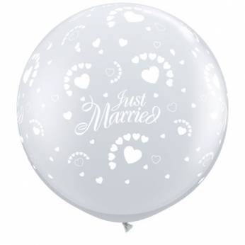 1 x 3ft (90 cm) Diamond Clear Just Married & Hearts Qualatex Ballon