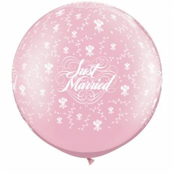 1 x 3ft (90 cm) Pearl Pink Just Married & Flowers Qualatex Ballon