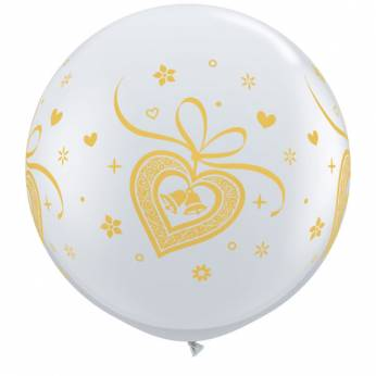 1 x 3ft (90 cm) Diamond Clear Gold Wedding Bells Qualatex Ballon