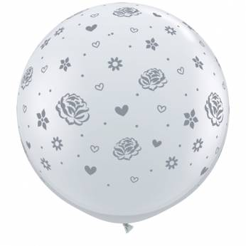 1 x 3ft (90 cm) Diamond Clear Silver Roses & Flowers Qualatex Ballon