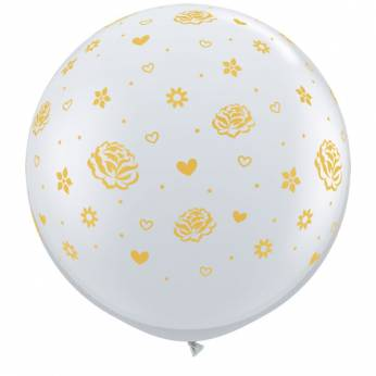 1 x 3ft (90 cm) Diamond Clear Gold Roses & Flowers Qualatex Ballon