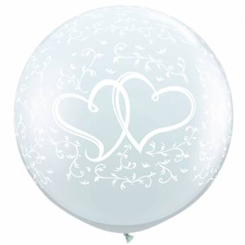 1 x 3ft (90 cm) Diamond Clear Entwined Hearts Qualatex Ballon