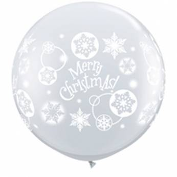1 X 3FT (90 cm)  DIAMOND CLEAR MERRY CHRISTMAS SNOWFLAKES Qualatex ballonnen